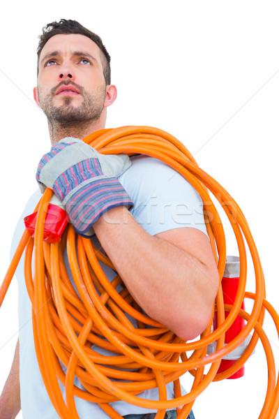 Repairman holding wire roll Stock photo © wavebreak_media