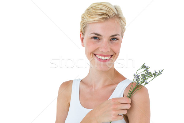 Sarışın kadın çiçekler beyaz kadın çiçek Stok fotoğraf © wavebreak_media