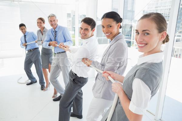 Foto stock: Pessoas · de · negócios · corda · escritório · mulher · homem