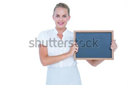 üzletasszony tart iskolatábla fehér fal üzlet Stock fotó © wavebreak_media