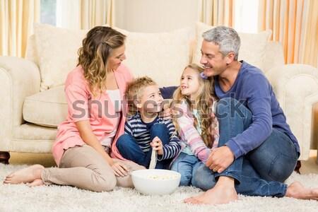 Zdjęcia stock: Szczęśliwy · rodziców · dzieci · piętrze · szczeniak · domu