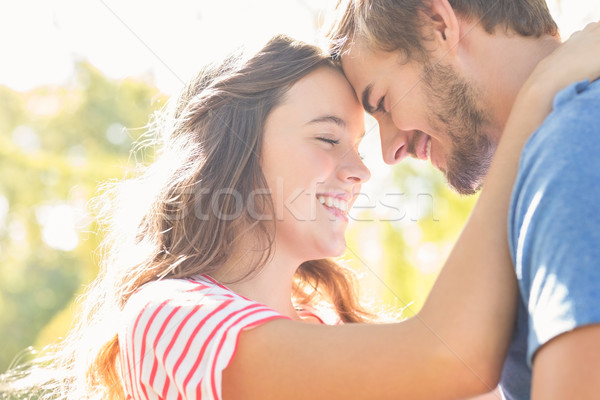 Cute coupe glimlachend ander park Stockfoto © wavebreak_media