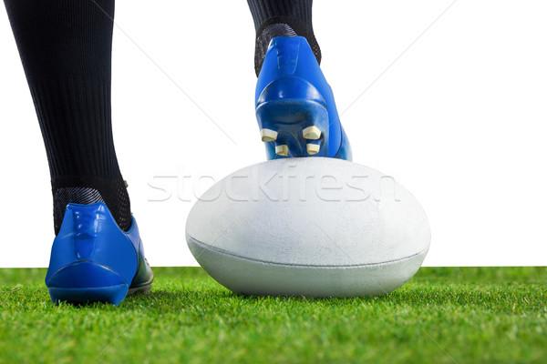 Rögbi játékos pózol láb labda alulról fotózva Stock fotó © wavebreak_media
