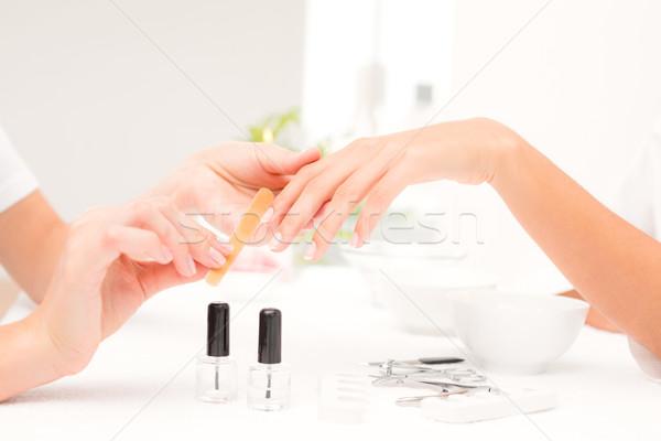 Női ügyfelek körmök fürdő szépségszalon közelkép Stock fotó © wavebreak_media