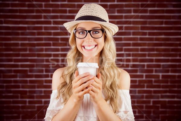 великолепный улыбаясь блондинка Кубок портрет Сток-фото © wavebreak_media