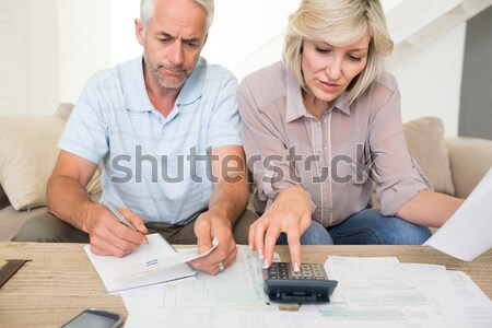 Couple doing their accounts sat in a couch Stock photo © wavebreak_media