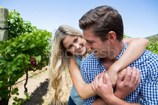 Happy couple embracing at vineyard Stock photo © wavebreak_media