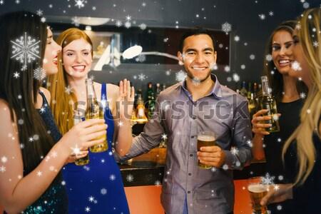 счастливым друзей танцы пива ночном клубе Сток-фото © wavebreak_media
