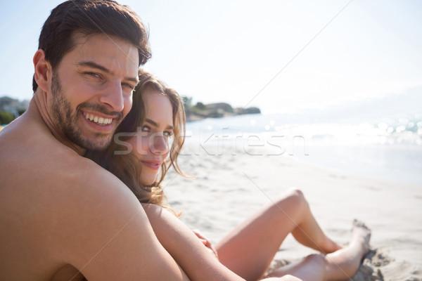 Ritratto giovani a torso nudo uomo fidanzata seduta Foto d'archivio © wavebreak_media