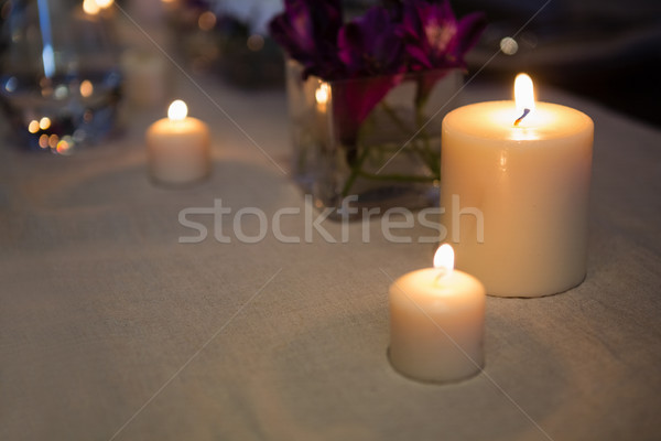 Close up of lit candles on table Stock photo © wavebreak_media