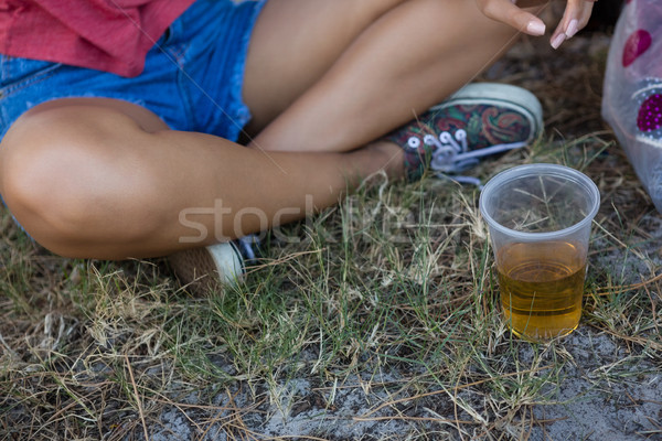Donna seduta parco festival di musica erba bere Foto d'archivio © wavebreak_media