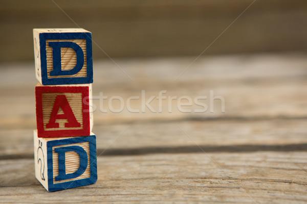 Közelkép boglya kocka formák apa szöveg Stock fotó © wavebreak_media