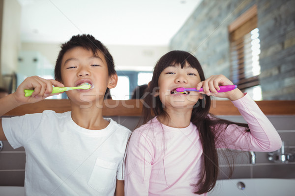 Siblings brushing teeth in the bathroom Stock photo © wavebreak_media