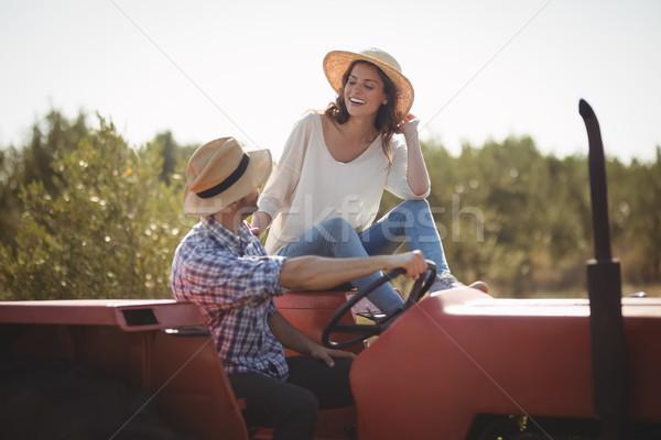Feliz sessão juntos trator oliva Foto stock © wavebreak_media