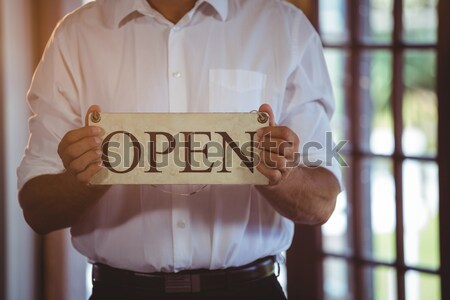Close up of thoughtful senior man looking out through window Stock photo © wavebreak_media