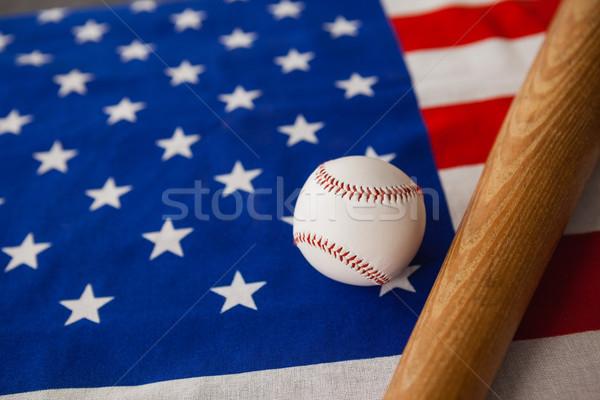 Kij baseballowy piłka amerykańską flagę sportu tle Zdjęcia stock © wavebreak_media