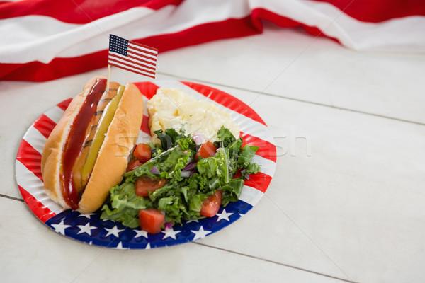 Amerikaanse vlag hot dog houten tafel voedsel glas Stockfoto © wavebreak_media