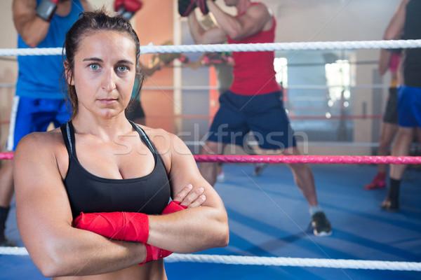 Portret kobiet bokser stałego boks Zdjęcia stock © wavebreak_media