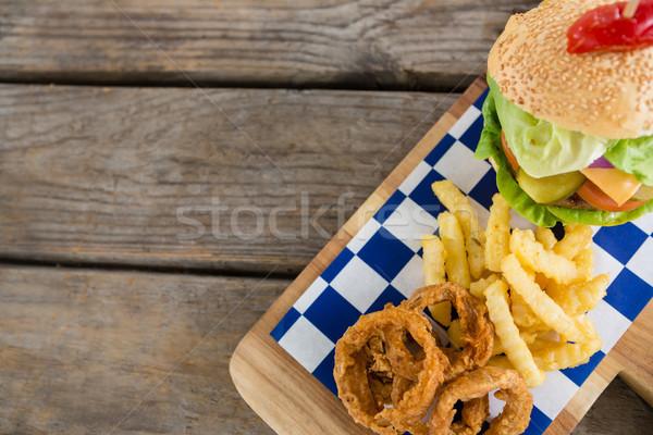 表示 フライド タマネギ リング フライドポテト ハンバーガー ストックフォト © wavebreak_media