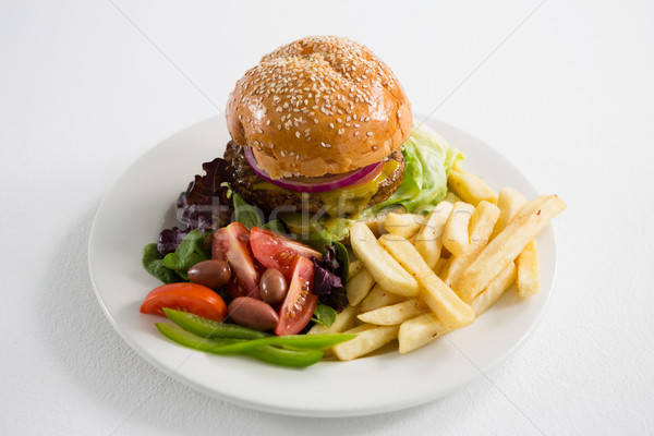 French fries with salad and burger Stock photo © wavebreak_media