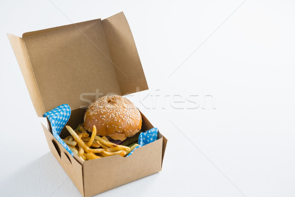 Hamburger with French fries in box Stock photo © wavebreak_media