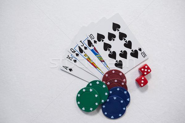 игральных карт Dice фишки казино белый успех играть Сток-фото © wavebreak_media