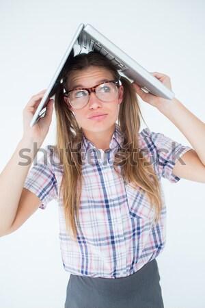 Stockfoto: Portret · zakenvrouw · lijden · hoofdpijn · witte · vrouw