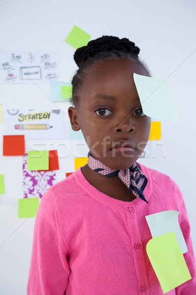 Businesswoman with adhesive notes looking away against whiteboard Stock photo © wavebreak_media