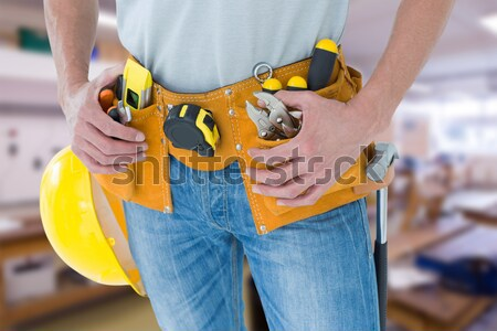 Mid section of woman wearing safety harness Stock photo © wavebreak_media