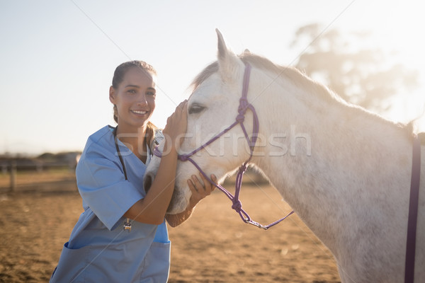Sonriendo femenino veterinario caballo granero retrato Foto stock © wavebreak_media