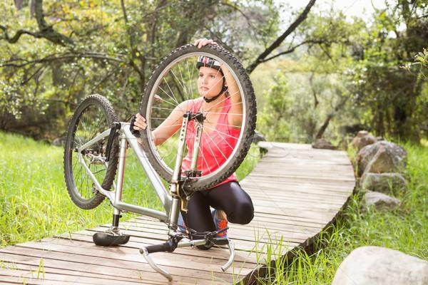 Atlet dağ bisikleti doğa kadın manzara Stok fotoğraf © wavebreak_media