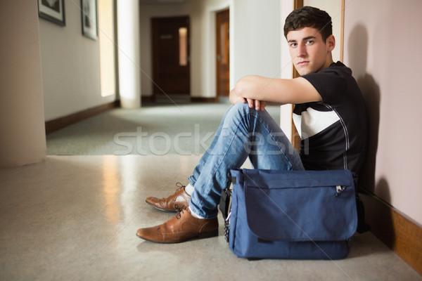 портрет мужчины студент сидят стены Сток-фото © wavebreak_media