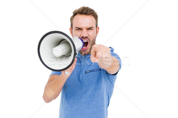 Fiatalember kiált duda hangfal fehér férfi Stock fotó © wavebreak_media