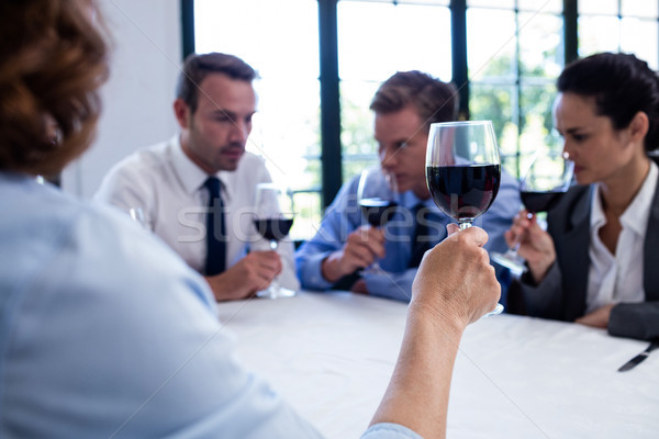 Group of businesspeople drinking wine glass during business lunc Stock photo © wavebreak_media