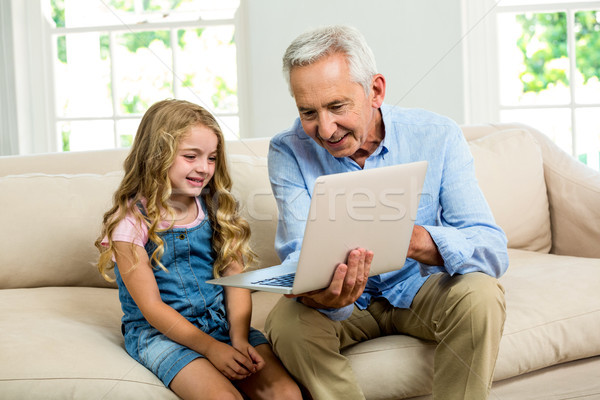 Smiling granddad and girl using laptop Stock photo © wavebreak_media