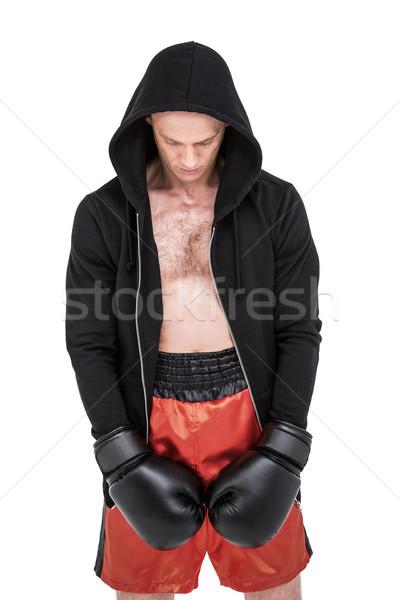 Boxeador posando fracaso deprimido hombre negro Foto stock © wavebreak_media