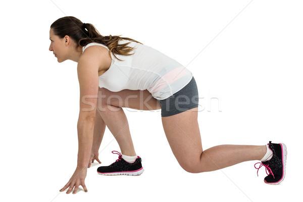 спортсмена женщину готовый запустить положение белый Сток-фото © wavebreak_media