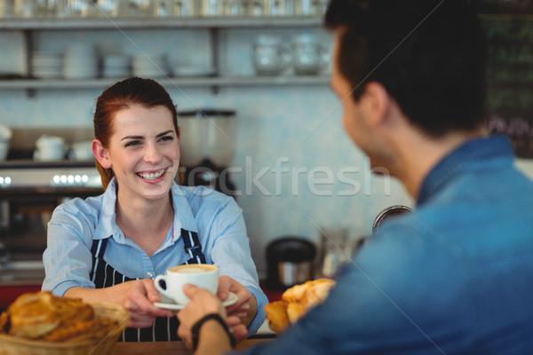 Stock fotó: Derűs · barista · kávé · vásárló · büfé · női
