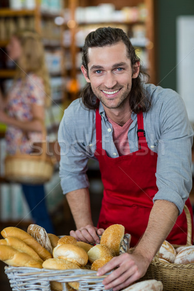 Photo stock: Portrait · Homme · permanent · boulangerie · contre · supermarché