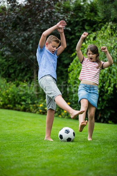 Ninos jugando fútbol parque nina bebé Foto stock © wavebreak_media