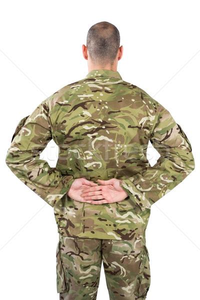 Vue arrière soldat permanent mains derrière Retour Photo stock © wavebreak_media