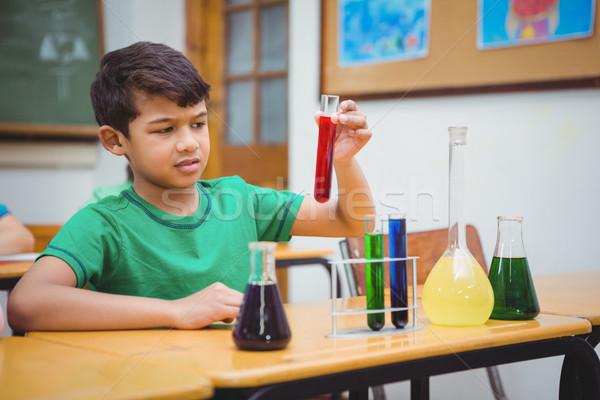 Diák labor üvegáru férfi iskola gyermek Stock fotó © wavebreak_media