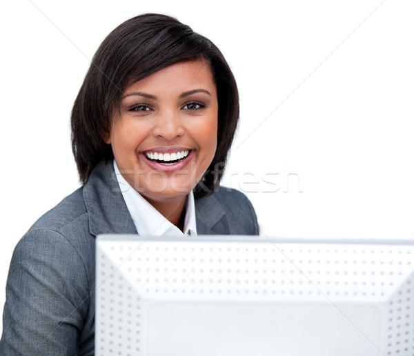 Stockfoto: Positief · zakenvrouw · werken · computer · witte · kantoor