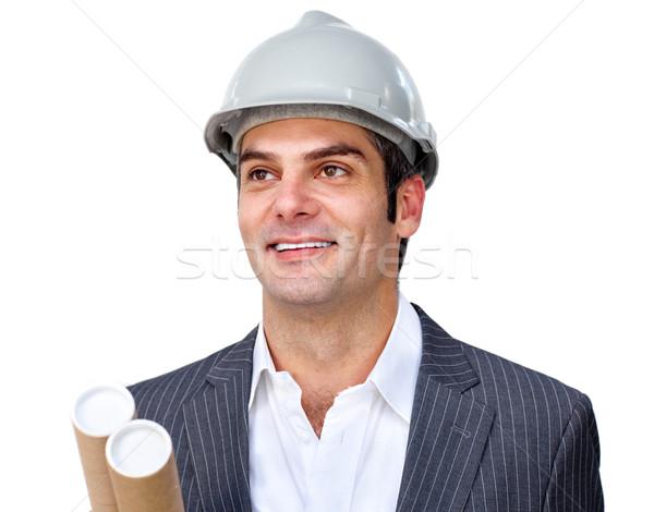 Charyzmatyczny mężczyzna architekta kask biały Zdjęcia stock © wavebreak_media