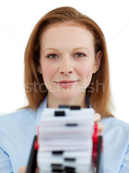 Businesswoman holding her business card holder Stock photo © wavebreak_media