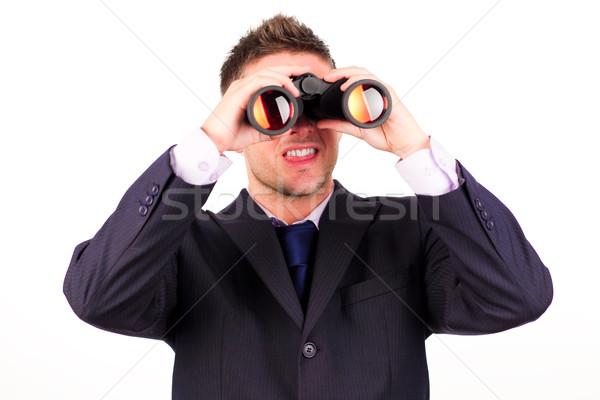 Homem olhando binóculo moço empresário terno Foto stock © wavebreak_media