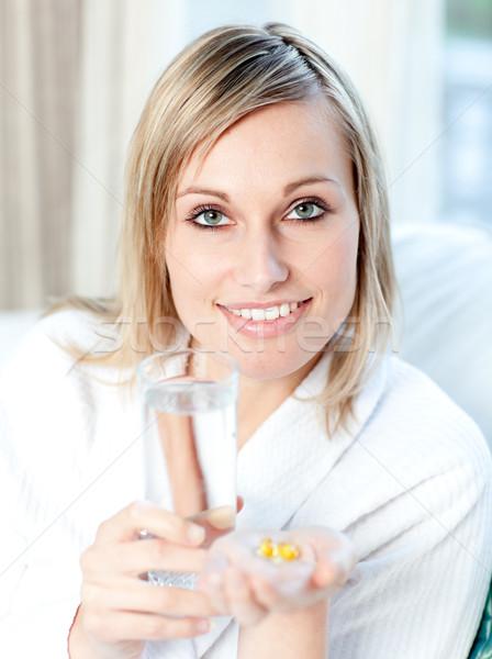 Chorych kobieta szkła wody Zdjęcia stock © wavebreak_media