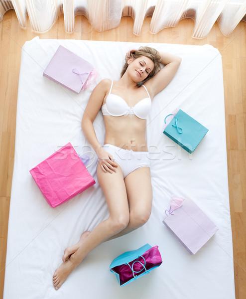 Vrouw bed ondergoed gezicht Stockfoto © wavebreak_media