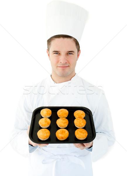 Uśmiechnięty gotować kamery biały Zdjęcia stock © wavebreak_media