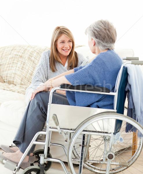 Yaşlılar konuşma birlikte livingroom tıbbi doğa Stok fotoğraf © wavebreak_media